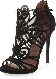 Tabitha Simmons Suede & Mesh Filigree Sandal, Black High Heels: Shoes