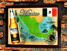 CORONA EXTRA LIGHT BEER BOTTLE MEXICO FLAG 27x21 WOOD FRAMED MIRROR SIGN MANCAVE