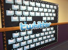 "Our T'Whitt'er wall...yes, I know it's misspelled. Our school's name is Whitt. Each Friday the students must write a ""tweet"" about something they learned during the week. This is their exit ticket from my room each week    This is also helpful for departmentalized classes. Everyone's tweets can be displayed instead of picking and choosing student work to hang out in the hall."