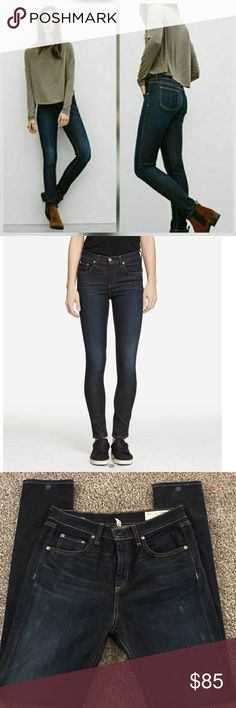 """Rag & Bone 10"""" Slim fit skinny with 5 pocket silhoutte Style: W1532K520KEN in super never used condition only flaw in pic #3 not noticeable when wearing. It came that way when bought so don't know if it's the jeans looks    SIZE & FIT 10'' rise 11'' leg opening 30'' inseam Size 28 98% cotton, 2% polyurethane Made in the U.S.A. rag & bone Jeans Skinny"""