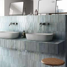 Bathroom trends: are stacked tiles the new subway tile? Kitchen Wall Tiles, Ceramic Wall Tiles, Bathroom Wall, Porcelain Tiles, Kitchen Backsplash, Serene Bathroom, Aqua Bathroom, Bath Tiles, Bathroom Storage