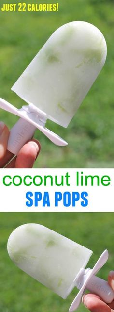 coconut lime spa pops - low calorie treat just 22 calories Ice Pop Recipes, Popsicle Recipes, Summer Recipes, Frozen Desserts, Frozen Treats, Summer Desserts, Low Carp, Paleo Appetizers, Low Carb Ice Cream