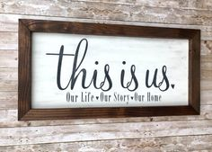 This is Us sign, Farmhouse style wood sign, wood wall decor, this is us wall hanging, living room & bedroom decor. Perfect anniversary gift - Handmade home decor - THE WHITE SPURR CO Wood Wall Decor, Bathroom Wall Decor, Bedroom Decor, Decor Room, Easy Home Decor, Handmade Home Decor, Handmade Gifts, Farmhouse Side Table, Farmhouse Style