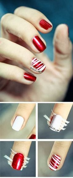 DIY nails | DIY and Crafts photos @Hannah Mestel Mestel Mestel Mestel Mestel Gentry  we need to do this for our nails this Christmas!