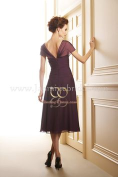 Tea Length Mother Groom Dresses   ... neck Chiffon Fabric Cap Sleeves Tea length Mother of the Bride Dress