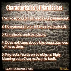 Characteristics of Narcissists ... Describes you perfectly.