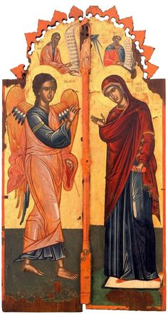 Royal Doors, century, x cm; Holy Monastery of Agiou Pavlou (St Paul), Mt. One of the Prophets and King David appear above and the Annunciation is below. Byzantine Icons, Byzantine Art, Religious Symbols, Religious Art, Prophets And Kings, Royal Doors, Christian Stories, I Believe In Angels, Russian Icons