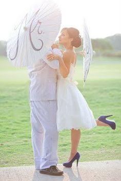 Mr & Mrs parasols (but mostly loving the shoes and dress!)