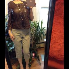 Brown top JW style brown leather-like blouse, zipper front. M. Ruffles. JW Tops