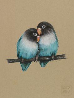 """Love Birds"" Polychromos Pencils on Toned Tan Paper."