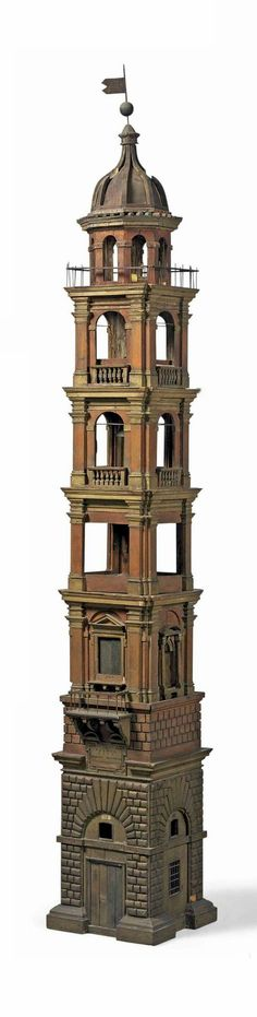 A WOODEN MODEL OF THE TORRE DELL'OROLOGIO, FAENZA BY GIOVANNINI FERDINANDO, 18TH CENTURY ; In eight sections; with sized canvas dome and metal bell inscribed '8' and 'V.F.'; with remnants of a modern lighting system to interior; inscribed 'FAENZA/ FECE/ GIOVANNINI FERDINANDO' and '26' over doorway; inscribed 'N(?)OA E GIALO/ VIA EMICLIA/ CORSO/ PORTE PONTE' over window - Dim: 94¼ in. (239.5 cm.) high.