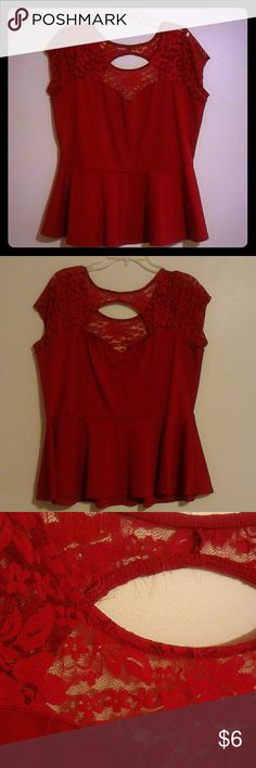 Peplum Lace Top Red peplum top. Lace sweetheart top. Minor wear around lace. Ambiance Apparel Tops Blouses