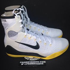 8893a55bcae7 Nike Kobe 9 Elite White Black-Gold Nike Shoes Cheap
