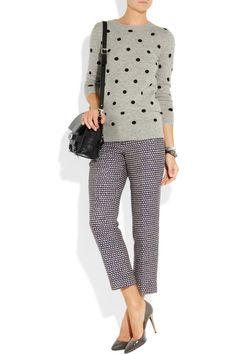 J.Crew|Polka-dot cashmere sweater|NET-A-PORTER.COM