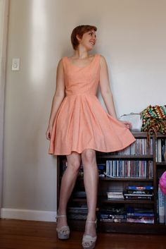 Another of my Simplicity Cynthia Rowley 1873 dresses but in view C without the tabs in a fine orange gingham. Super cute ;)