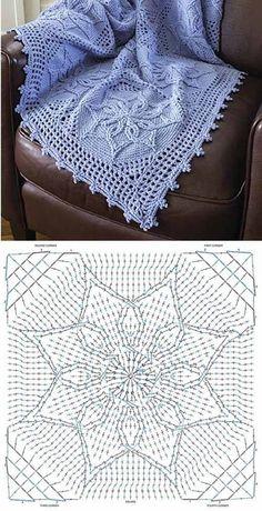 Laanelind's 336 media content and analytics Crochet Bedspread Pattern, Crochet Doily Diagram, Crochet Blocks, Granny Square Crochet Pattern, Crochet Pillow, Crochet Stitches Patterns, Crochet Chart, Crochet Squares, Crochet Granny