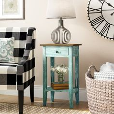 August Grove Cusseta End Table With Storage Color: Blue Chair Side Table, End Table Sets, End Tables With Storage, Low Shelves, Display Shelves, Open Shelving, Shelf, Painted Side Tables, Painted Drawers