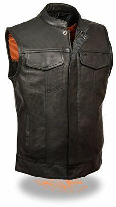 Black, Large Mens Plain Side Basic Denim Vest MILWAUKEE PERFORMANCE