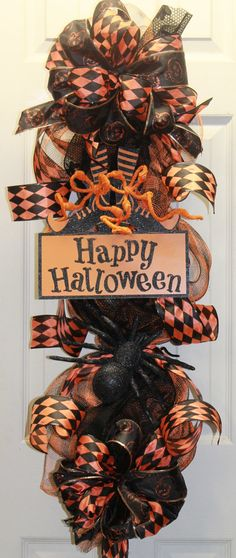 Happy Halloween Mesh Swag by southernchicbyle on Etsy, $56.00