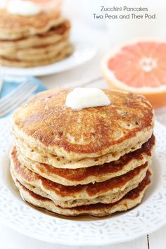 Whole Wheat Zucchini Pancakes Recipe on twopeasandtheirpod.com Our favorite summer pancake recipe! #pancakes #zucchini