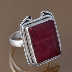 925 SOLID STERLING SILVER HOT RUBY RING 8.91g DJR8346 SZ-7.75 #Handmade #Ring