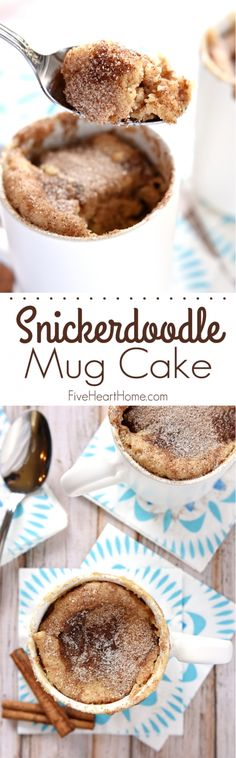 Snickerdoodle Mug Cake ~ bakes up in the microwave in just one minute, yielding a warm, cinnamon-sugary treat that will satisfy any sweet tooth! (Mug Cake Saludable) Delicious Desserts, Dessert Recipes, Yummy Food, Cake Recipes, Tasty, Cup Desserts, Easy Desserts, Easy Few Ingredient Desserts, Easy Sweets