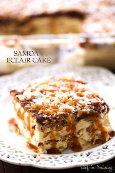 No Bake Samoa Eclair Cake FoodBlogs.com