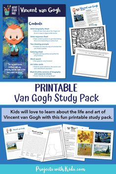 Kids will love to learn about the life and art of Vincent van Gogh with this fun printable study pack. Artist biography, drawing prompts, writing prompts, and more! Art Prompts, Writing Prompts, Painting For Kids, Art For Kids, Famous Artists For Kids, Fun Printables For Kids, Summer Lesson, Kids Inspire, Van Gogh Art