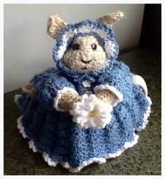 Miss Blue Bunny Teacozy by prettyasapozyteacozy on Etsy https://www.etsy.com/listing/268069692/miss-blue-bunny-teacozy
