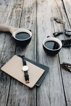 Coffee Outdoors | Black coffee on weather wood table ... ahhh