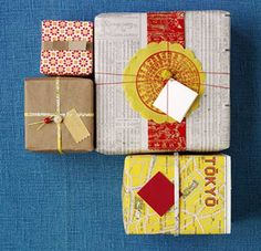 Easy to find and work with, vintage and repurposed papers add pop to presents. Layer several colors and textures, or add vintage beads for a finished look.