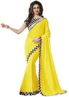 Hari Krishna Enterprise Solid Fashion Georgette Saree(Yellow)