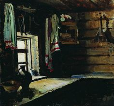 Interior of a Peasant House (Sergei Arsenevich Vinogradov - 1890)