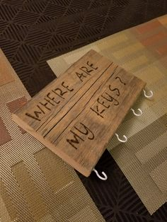 Where are my keys? Wooden Sign Key Holder by MalmgrenFurniture on Etsy
