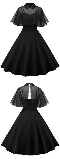 Vintage Pin Up Dress With Sheer Mesh Cape