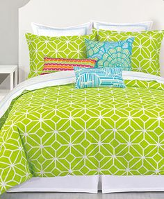 Trina Turk Bedding, Trellis Lime Comforter and Duvet Cover Sets