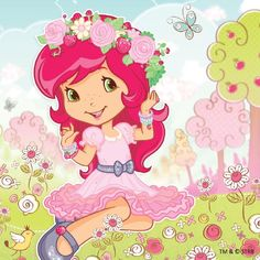 Strawberry Shortcake in her new and beautiful dress in her flower crown Strawberry Shortcake Pictures, Strawberry Shortcake Coloring Pages, Strawberry Shortcake Characters, Strawberry Shortcake Doll, Drawing For Kids, Art For Kids, Looney Tunes Wallpaper, Disney Princess Facts, Dora And Friends