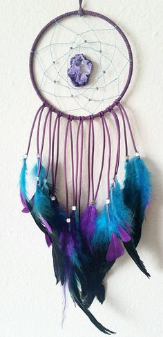 Violet and Blue Dream Catcher with a Purple Geode Pendant
