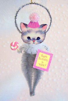 Vintage Birthday Kitten Ornament Gift Feather Tree