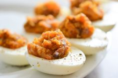 Bacon Deviled Eggs with Caramelized Onions and Cheddar Cheese...ummmm yum!!