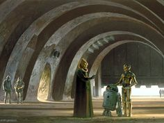 Star Wars Droids Droid Robot Robots Sci-Fi Fantasy Ralph McQuarrie concept art Return of the Jedi Episode VI Jabba's Palace, Star Wars Episode Iv, Classic Artwork, Star Wars Droids, Star Wars Tattoo, Ralph Mcquarrie, Scene Photo, Sci Fi Fantasy, Star Wars Art