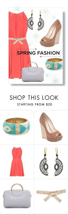 """""""spring dress"""" by nbeaudry on Polyvore featuring BillyTheTree, Jessica Simpson, BCBGMAXAZRIA, 1928, Burberry, coral, springfashion, polyvorecontest, bigbangles and polycontest"""