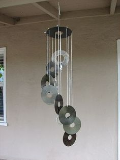 windchimes made from old CDs or hard drives.amazingly pretty when the sun is b. windchimes made from old CDs or hard drives…amazingly pretty when the sun is bouncing rainbows of Cd Diy, Carillons Diy, Recycled Cds, Recycled Crafts, Repurposed, Old Cd Crafts, Crafts With Cds, Diy With Cds, Recycled Garden Art