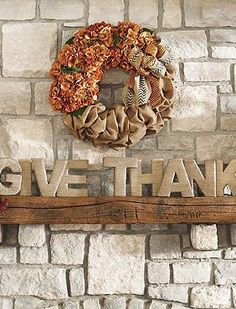 """Perfect for your mantle or accent table, the """"Give Thanks"""" Jute Letters will proclaim your gratitude and is the perfect message for fall."""