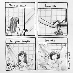 Debbie Tung's sketches of everyday life, comics and illustrations. Studio Ghibli Quotes, Quiet Girl, Trauma Therapy, Mental And Emotional Health, Anime Poses Reference, Words Quotes, Qoutes, Life Quotes, Scrapbook Sketches
