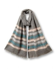 Wool Silk Stripe Scarf