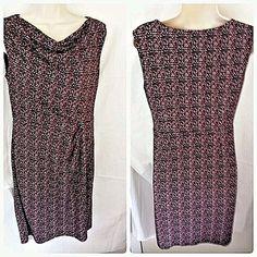 ANN TAYLOR Size 2 Sleeveless Sheath Dress Lined Plum Geometric #AnnTaylor #Sheath #WeartoWork