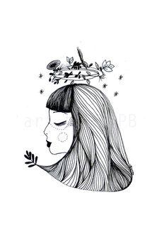 Goddess of nature. Illustration. Art print on Etsy, $10.00