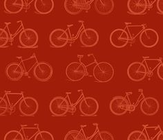 Retro Bicycles Red Pattern fabric by cloudycapevintage on Spoonflower - custom fabric