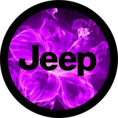 Purple Jeep Hibiscus Fire Flowers Spare Tire Cover